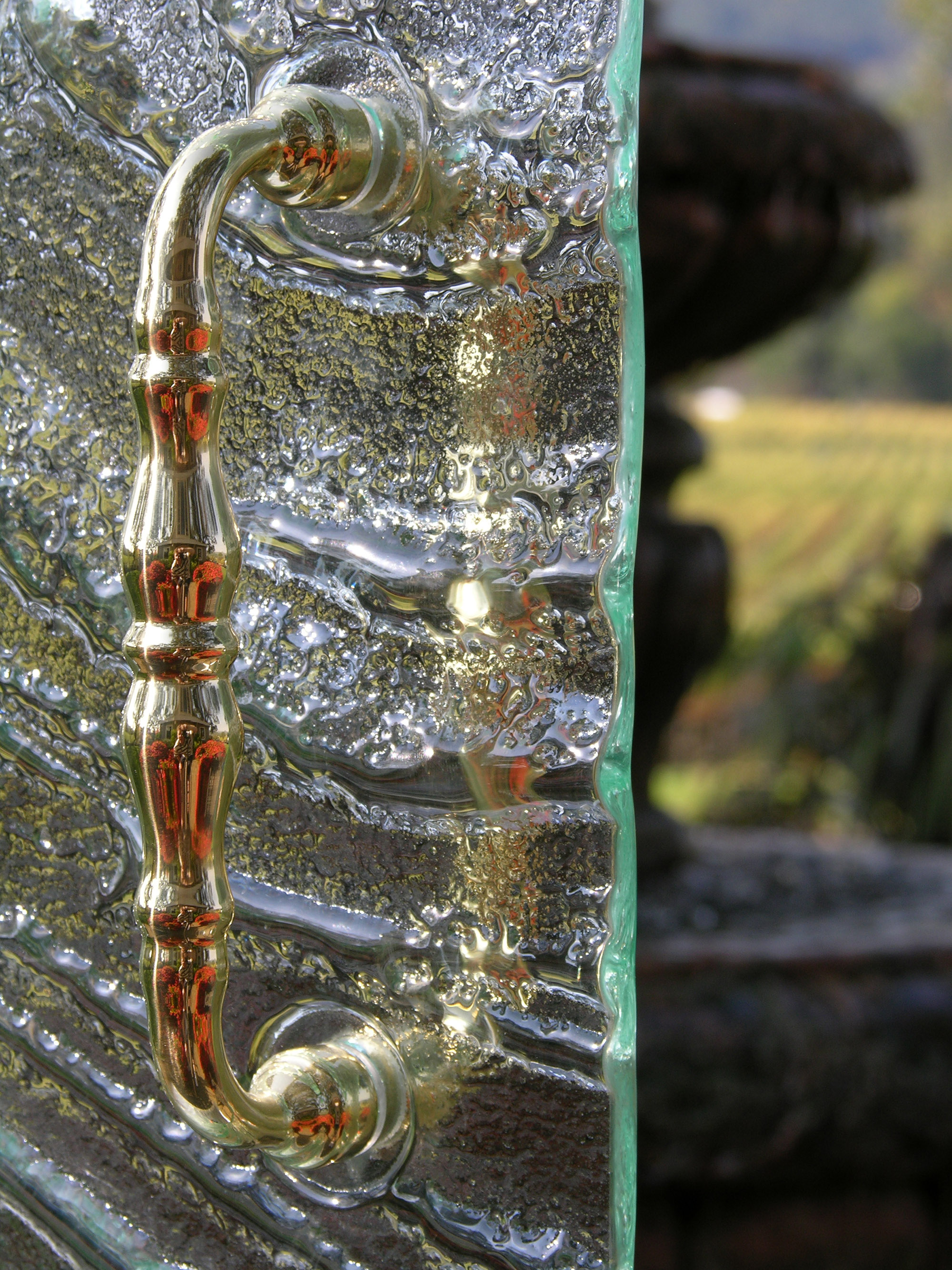 Cast Glass Shower Enclosure - Vineyard - Storm Detail