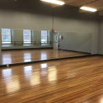 dance studio mirror install