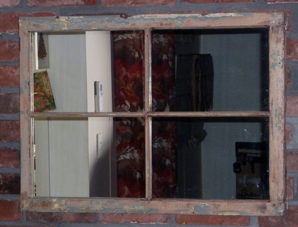 old antique vintage window frame mirror distressed