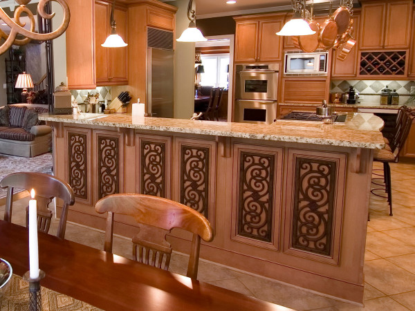 Faux wrought iron accented bar
