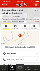 How to Write a Yelp Review from The Yelp App (iPhone) | Pioneer Glass