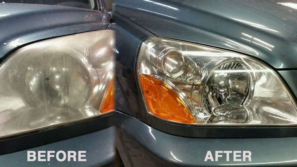 A side-by-side comparison of what an amazing impact cleaning your headlights can have.