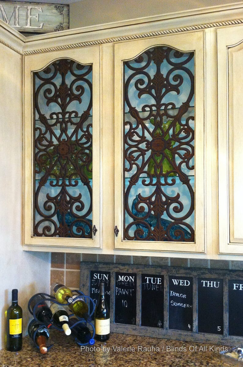 faux wrought iron cabinet insert pioneer glass