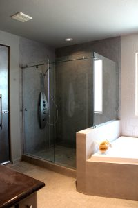 Skyline series shower enclosure on a buttress