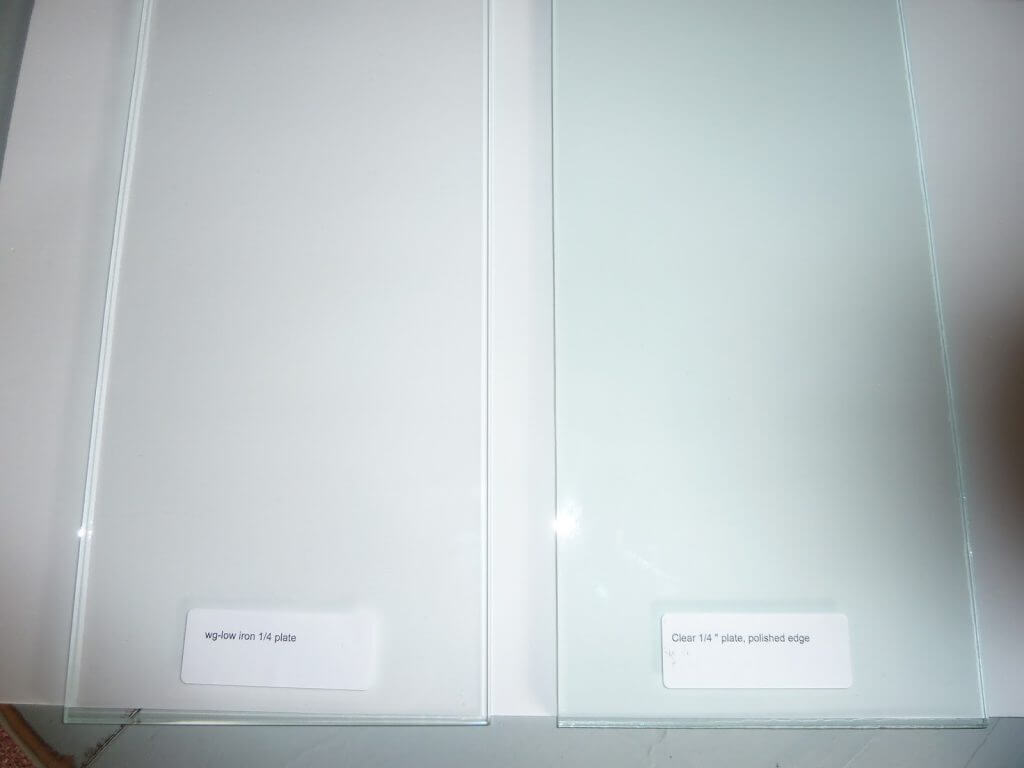 A comparison of low-iron glass (L) and traditional clear glass (R)... notice the green tint?