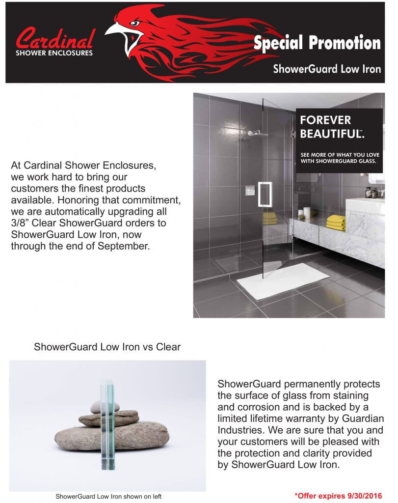 Low-Iron ShowerGuard glass protection