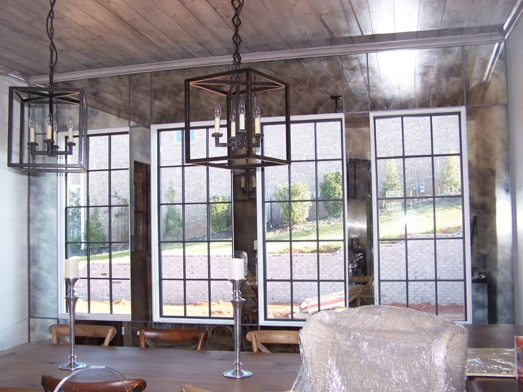 Custom mirrored custom glass walls and ceiling
