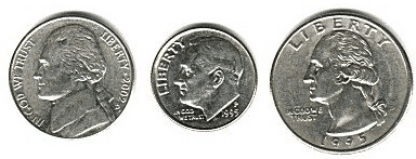 Dime, Nickel, Quarter sizes