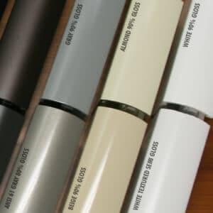 Shower Enclosure Powder Coating Finish Options: Sample of Gloss and Semi Gloss