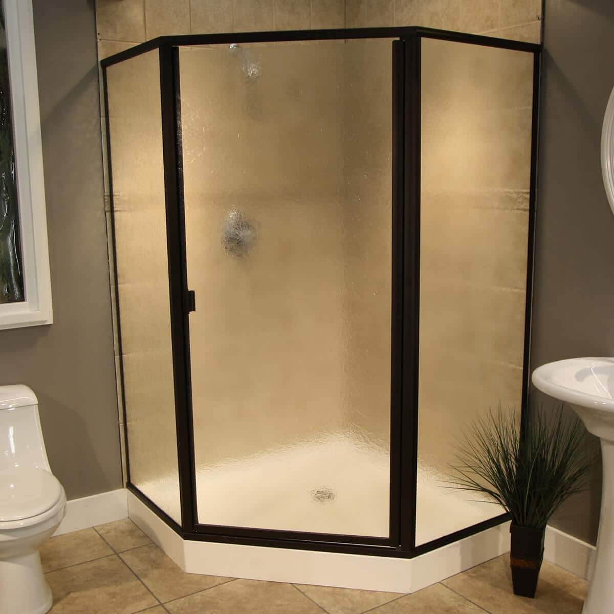 Thin Glass Pattern Shower Enclosures Glue Chip Shower