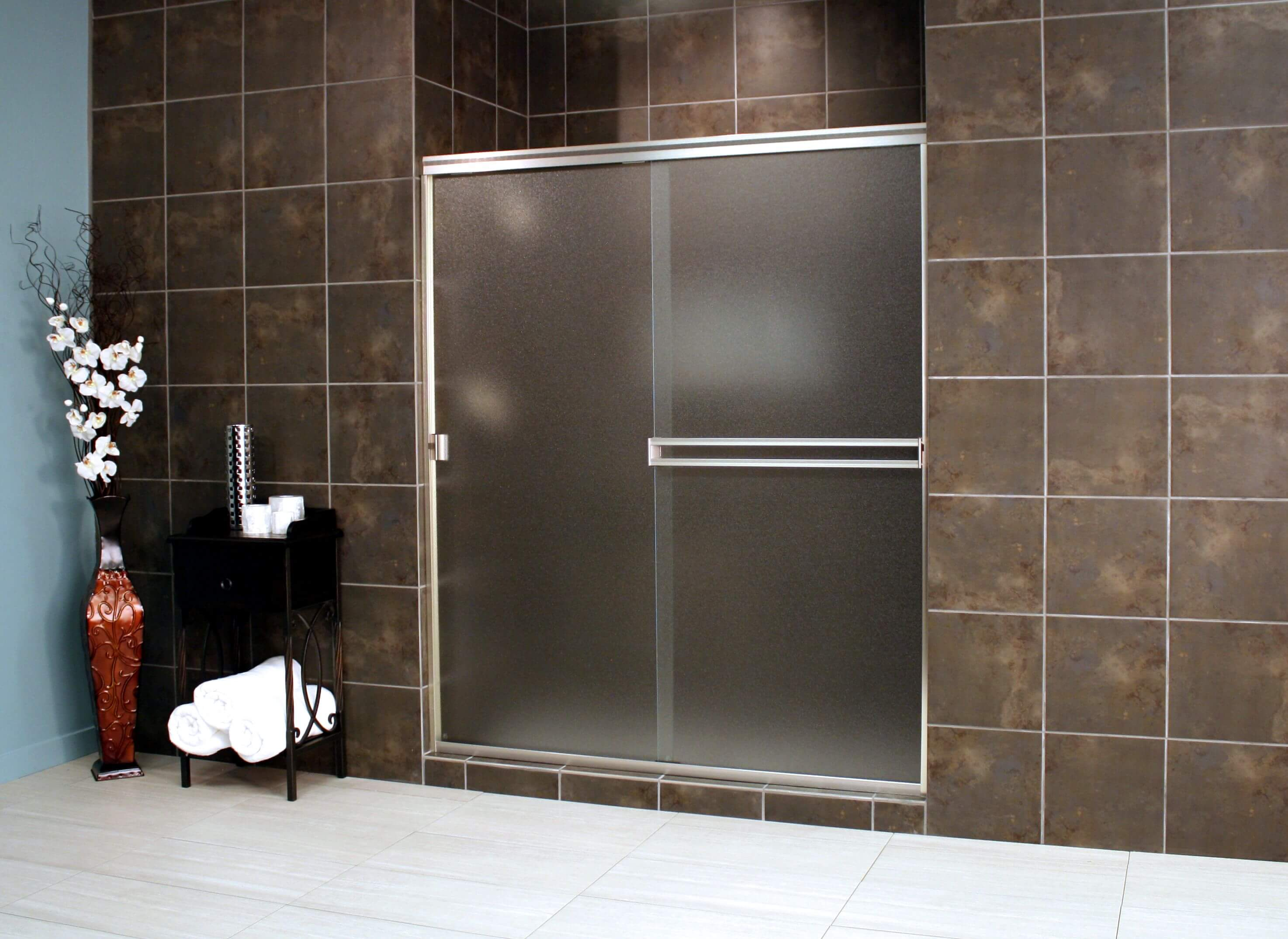 Thin Glass Pattern Shower Enclosures Obscure Shower Enclosure