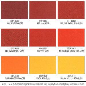 Shower Enclosure Powder Coating Finish Options: Red, Orange, Yellow
