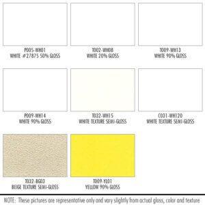 Shower Enclosure Powder Coating Finish Options: White, Beige, Yellow