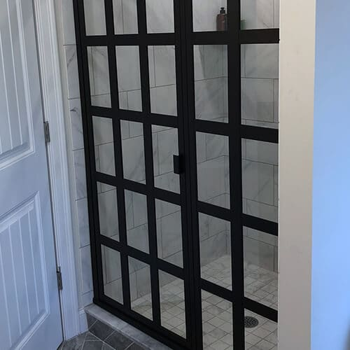 Gridded Shower Glass Metal Gridwork